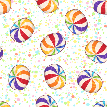 Candies seamless pattern. Vector background with hard sugar round candies on dotted background Çizim