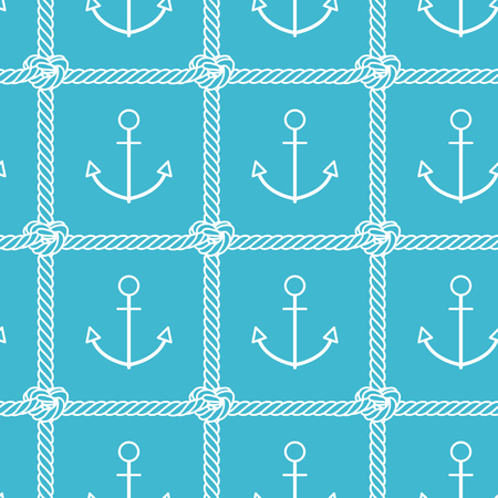 Sea pattern. Vector seamless pattern with outline anchor and rope on blue background