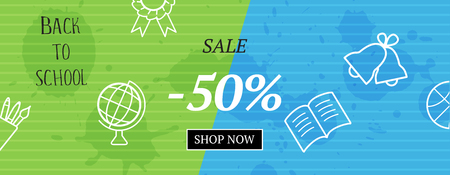 Back to school. Vector sale banner with outline signs and button shop now