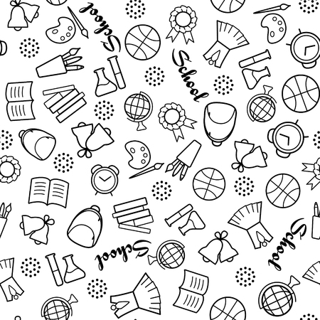 Back to school. Monochrome vector seamless pattern with outline signs and lettering