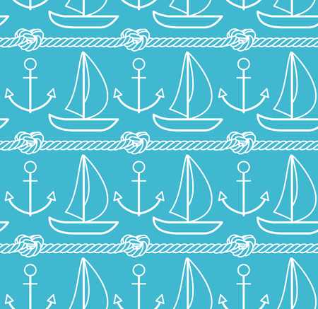 Sea pattern. Vector seamless pattern with outline boat, anchor and rope on blue background