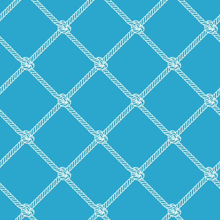 Rope pattern. Vector seamless pattern with outline rope chain. Fishnet pattern on blue background