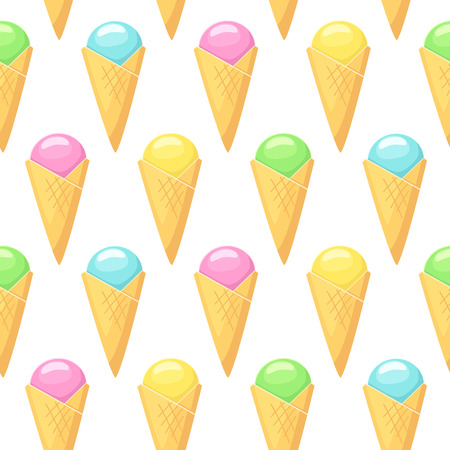 Ice cream . Vector seamless pattern with ice cream in cones on white background Stok Fotoğraf