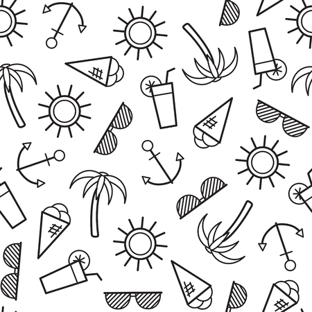 Summer seamless pattern. Vector monochrome background with outline icons. Coloring page for adult