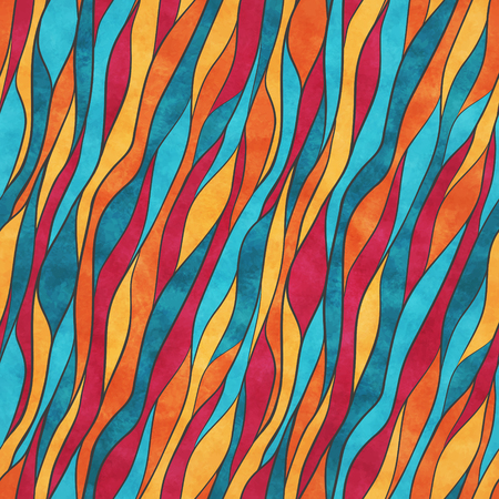 Colorful wavy lines. Vector abstract seamless pattern with watercolor texture