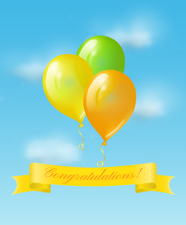 Colored balloons and blue banner with text Congratulations on the background of blue sky. Vector greeting card