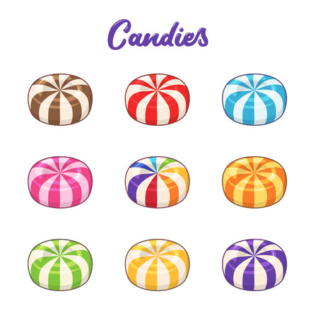Candies. Vector set of colored hard sugar round candies Stok Fotoğraf - 114863411