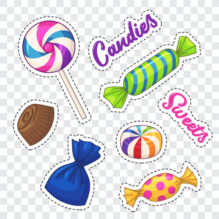 Candies stickers. Vector clip art with various candies and lettering Stok Fotoğraf - 114880930