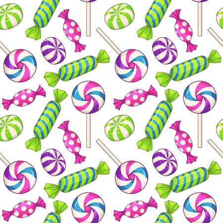 Candies seamless pattern. Vector background with various candies Stok Fotoğraf