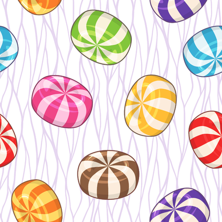 Candies seamless pattern. Vector background with hard sugar round candies on wavy background