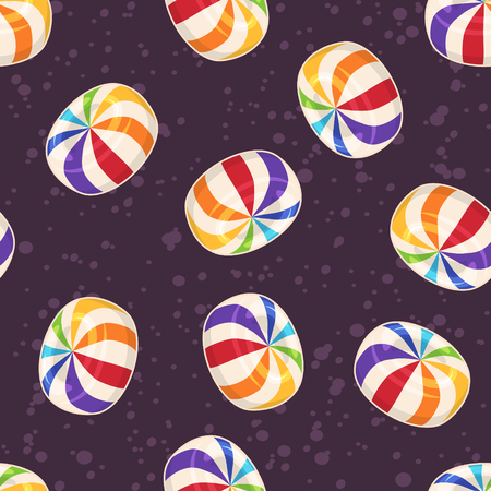 Candies seamless pattern. Vector background with hard sugar round candies on dark background