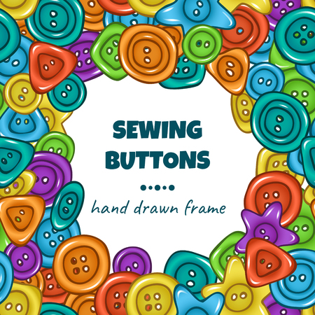 Sewing buttons. Vector colorful frame with hand drawn doodle buttons Stok Fotoğraf