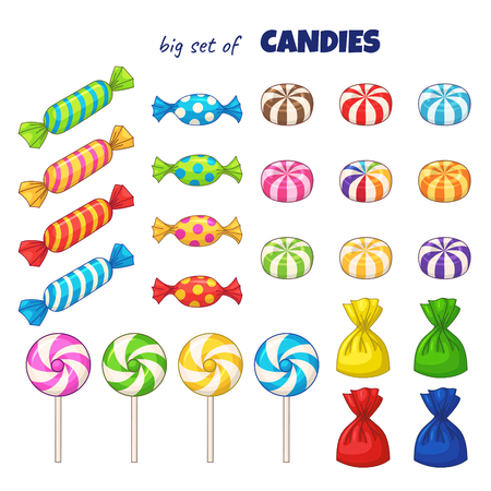 Candies. Vector set of colored cartoon candies
