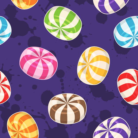 Candies seamless pattern. Vector background with colored hard sugar candies on grunge background Stok Fotoğraf
