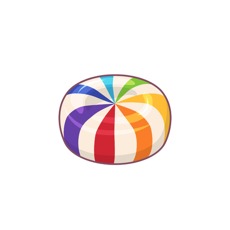 Rainbow striped candy. Vector icon of hard sugar round candy