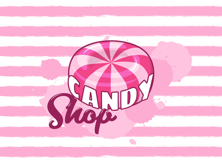 Candy shop. Vector pink grungy striped background with hard sugar round candy and text Stok Fotoğraf