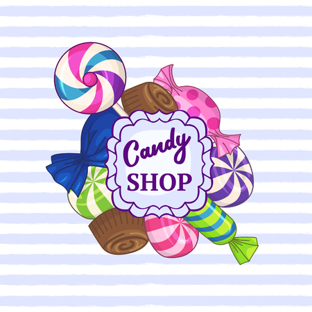 Candy shop. Vector striped background with frame of candies and text