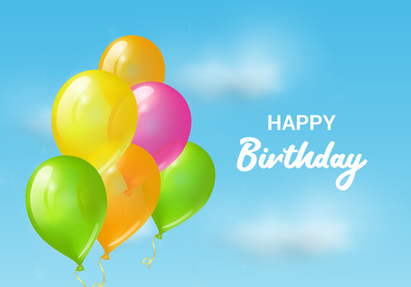 Balloons in the sky. Vector happy birthday greeting card Stok Fotoğraf - 114863419