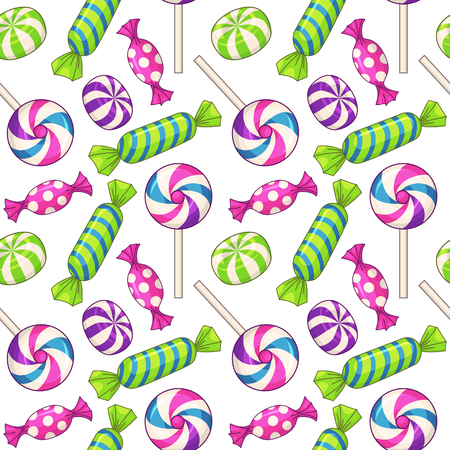 Candies seamless pattern. Vector background with various candies Çizim