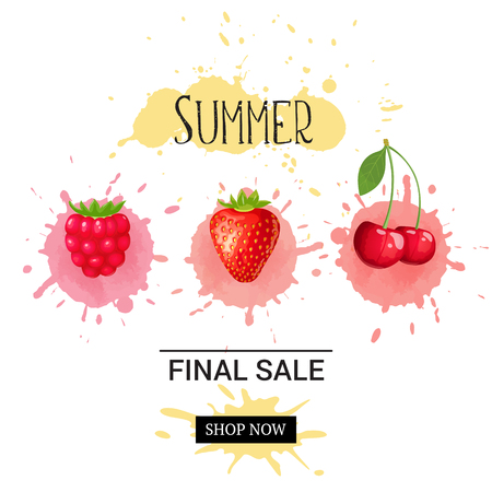 Summer final sale banner. Vector background with text and ripe berries with colored watercolor blobs Çizim