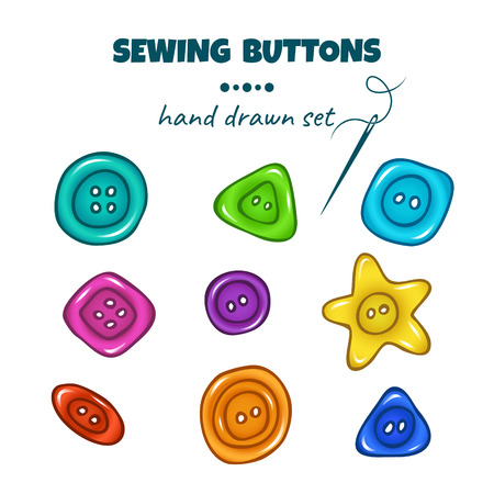 Sewing buttons. Vector set of colorful hand drawn doodle buttons on white background Фото со стока - 114863425