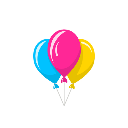Bunch of colored balloons. Vector icon isolated on white background Stok Fotoğraf - 125808714