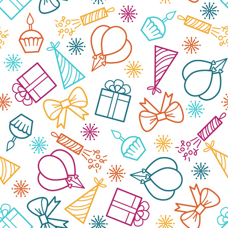 Birthday seamless pattern. Vector background with outline colored icons. Coloring page for adult