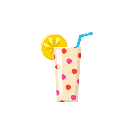 Cute doted cup for coctail or juice with orange slice and straw. Vector icon
