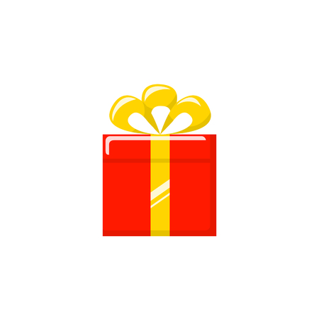 Red gift box with yellow ribbon and bow. Vector icon Stok Fotoğraf - 125808718