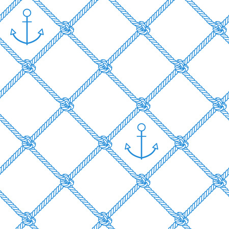 Sea pattern. Vector seamless pattern with outline anchor and rope Stok Fotoğraf - 125808720