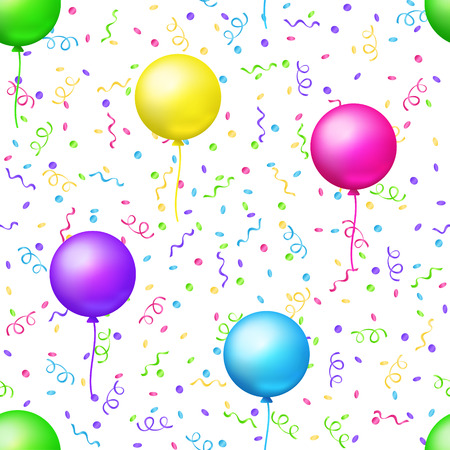 Party seamless pattern. Vector background with bright flying balloons and colored confetti