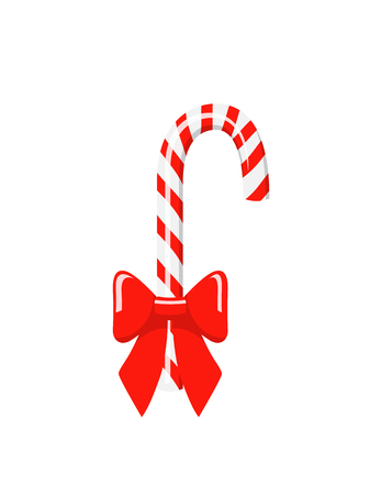 Christmas candy cane with red bow isolated on white background
