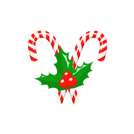 Christmas candy canes with holly berries isolated on white background