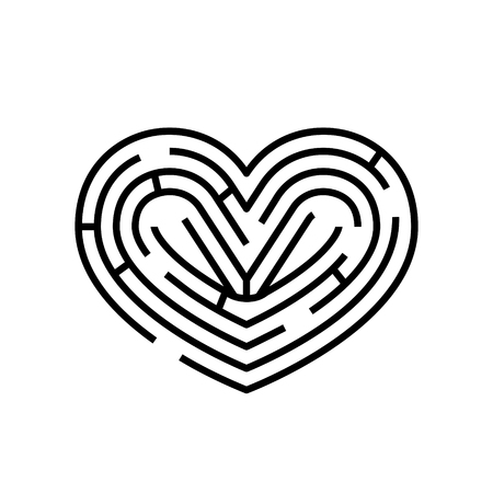 Maze in shape of heart. Vector brainteaser