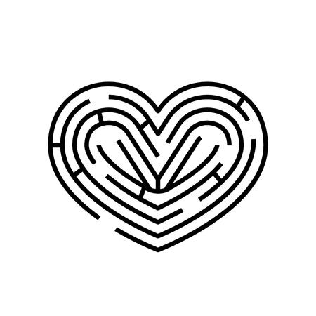 Maze in shape of heart. Vector brainteaser