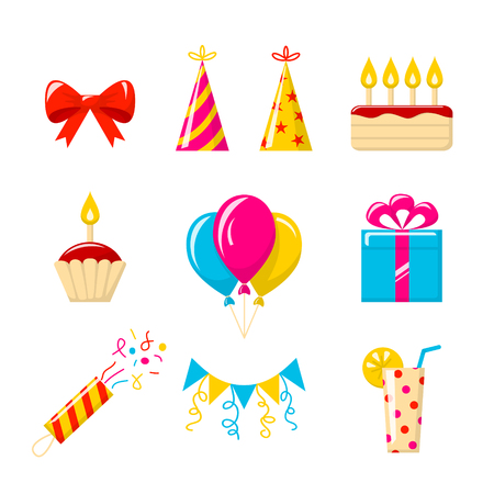 Birthday party. Vector set of colored icons