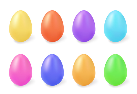 Colored eggs. Vector easter set isolated on white background Фото со стока - 124889849
