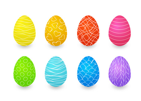 Colored eggs with outline patterns. Vector easter set isolated on white background Иллюстрация