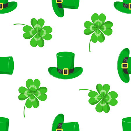 St.Patricks day. Vector seamless pattern with green hat and clover leaves Иллюстрация