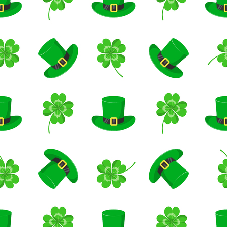 St.Patricks day. Vector seamless pattern with clover leaves and green hat