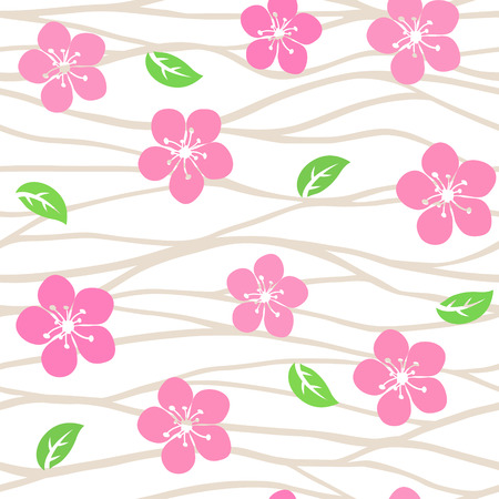 Vector seamless pattern with sakura flowers on branches