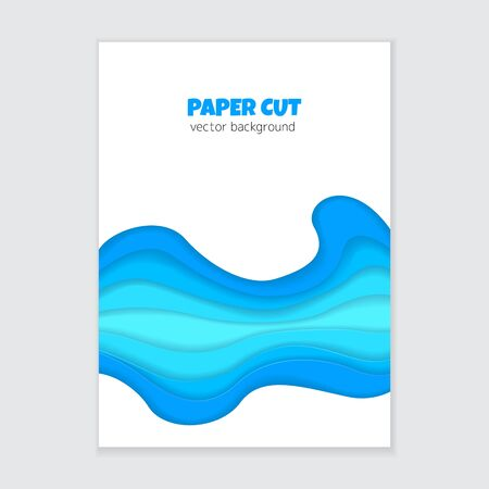 Vector banner with abstract 3d paper cut shapes. Vertical background with blue paper waves Çizim