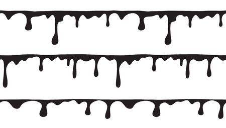 Vector set of black endless borders of smudges and flowing slime. Monochrome seamless pattern with liquid drips