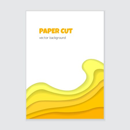 Paper cut vertical banner. Abstract 3d yellow wavy shapes.