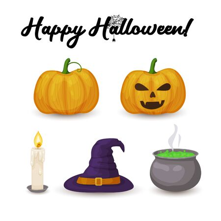 Halloween icons. Cartoon pumpkin, candle, witch hat and boiler with green potion isolated on white background Çizim