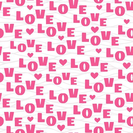 Vector seamless pattern with pink text Love