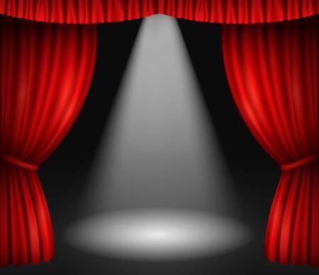 Escenario de teatro con cortinas rojas y foco. Ilustración de vector