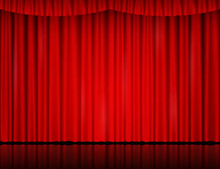 Red velvet curtain in theater or cinema Çizim