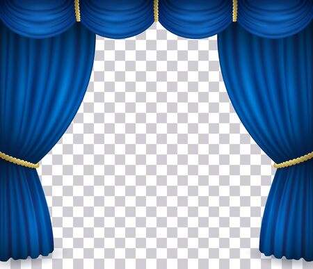 Blue theater stage curtain with drapery