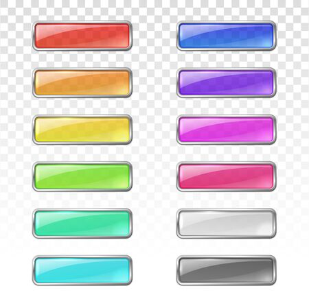 Vector colored glass buttons with metal frame